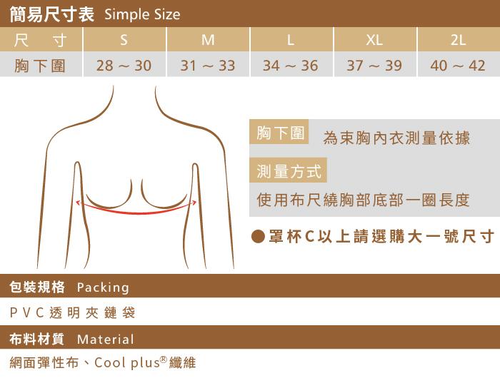【T-STUDIO】防駝系列/透氣輕薄全網布/粘式半身束胸內衣/尺寸對照表